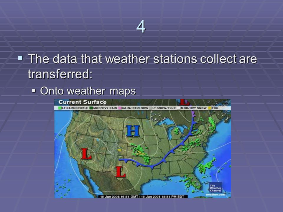 4 The data that weather stations collect are transferred: