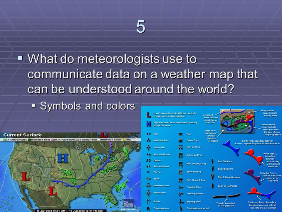 5 What do meteorologists use to communicate data on a weather map that can be understood around the world