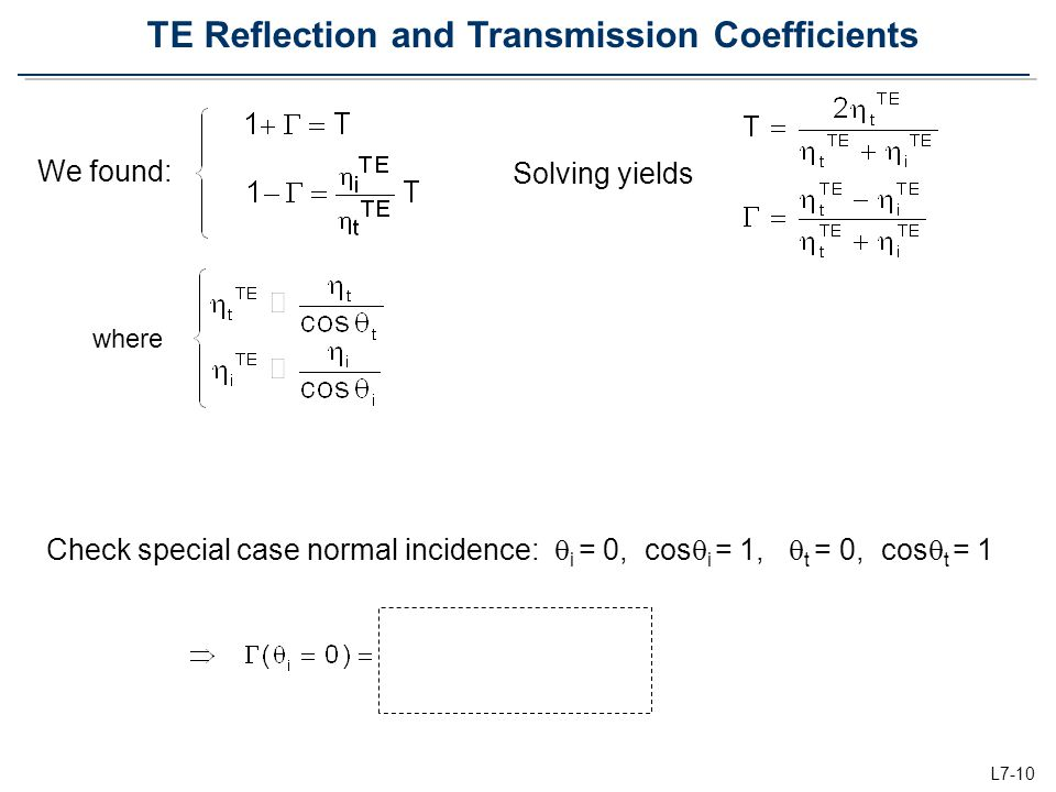 TE Reflection and Transmission Coefficients