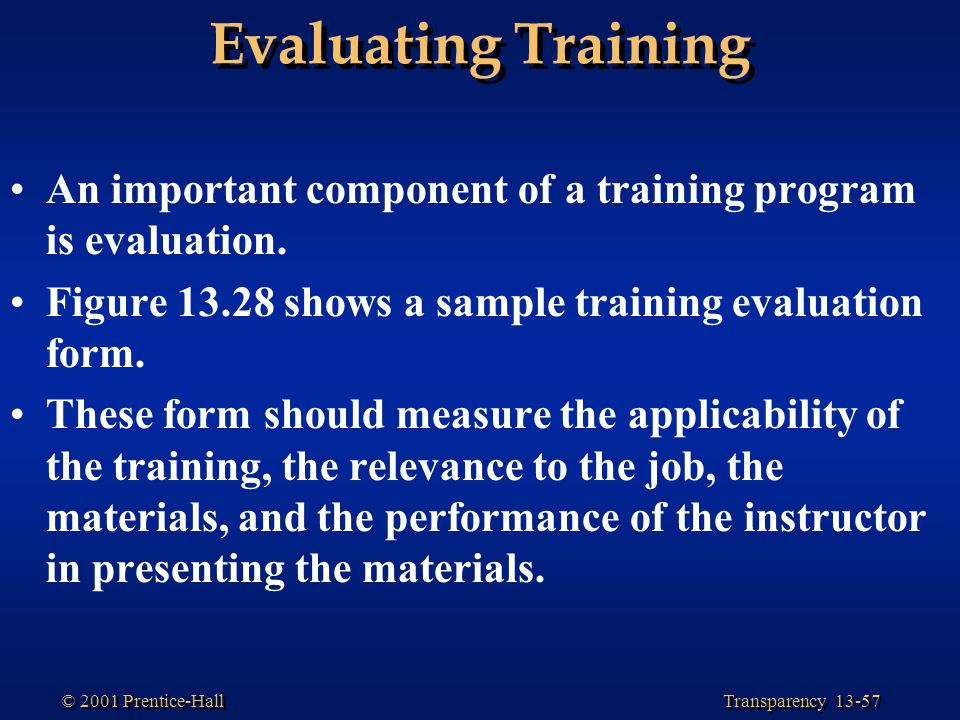 evaluation of formal training programmes in