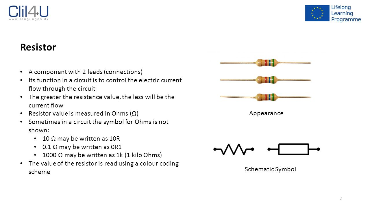 Resistor A component with 2 leads (connections)