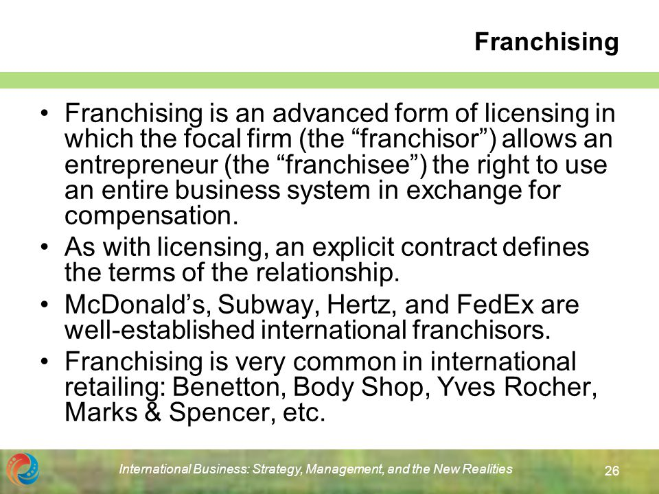 Chapter 15 Licensing Franchising And Other Contractual