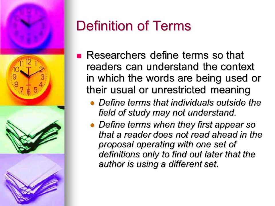 Using definitions in research papers