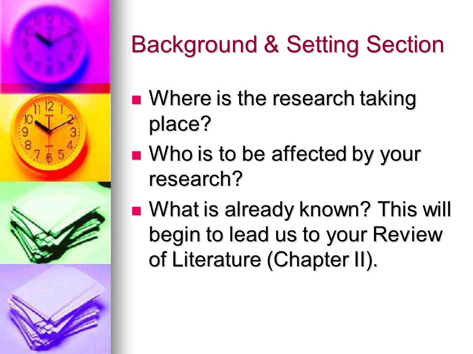 Background & Setting Section