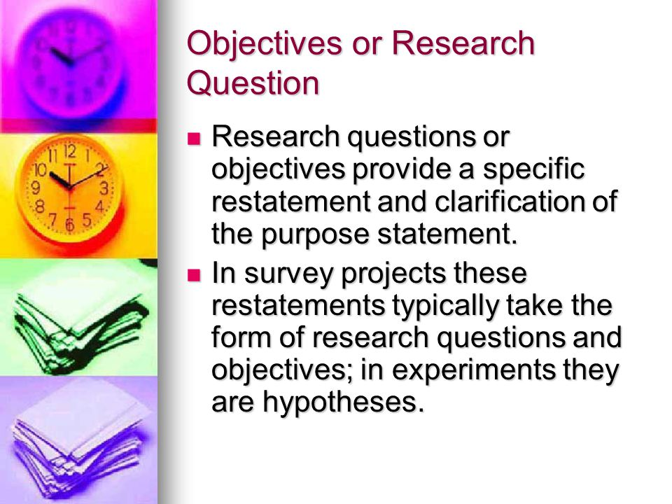 Objectives or Research Question