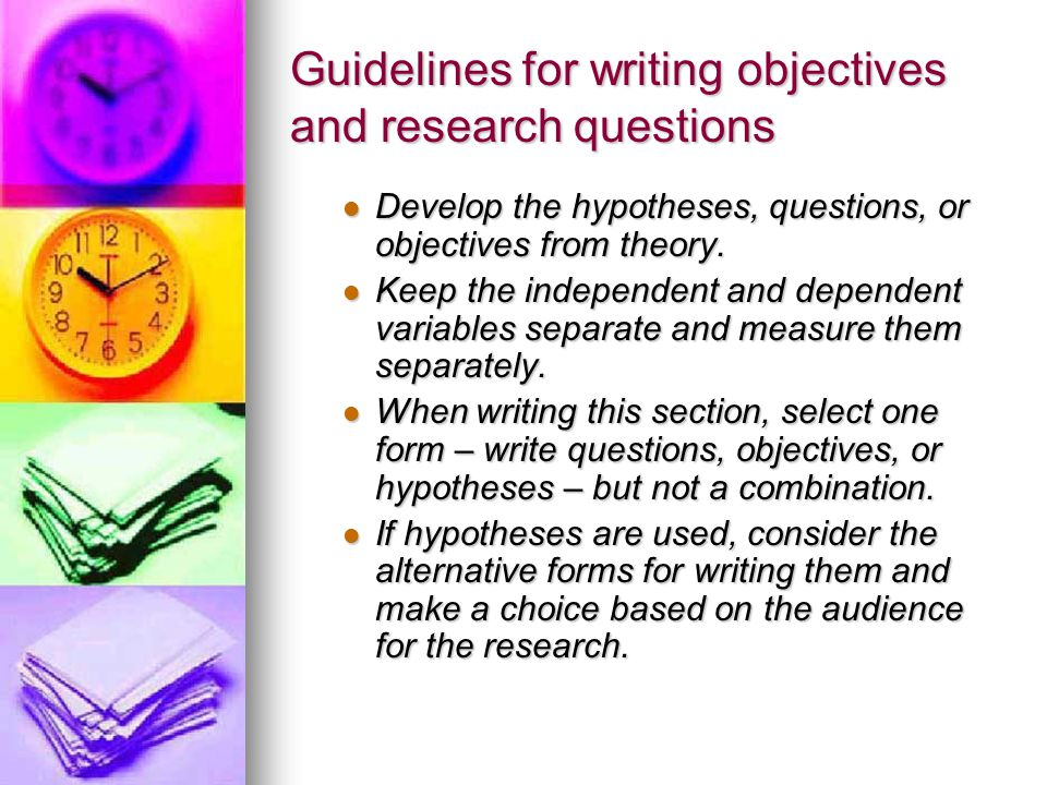 Guidelines for writing objectives and research questions