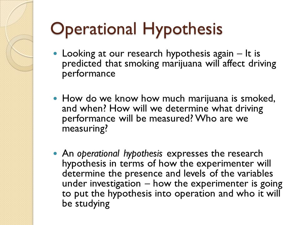 how to write a operational hypothesis