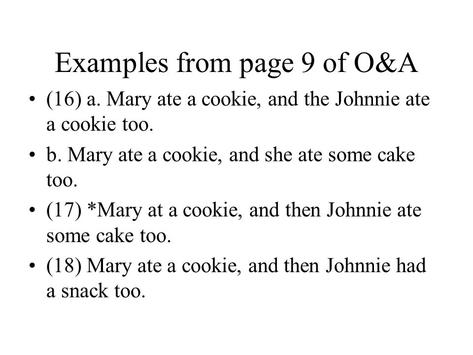 Examples from page 9 of O&A