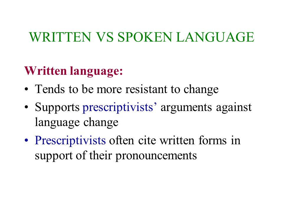 WRITTEN VS SPOKEN LANGUAGE