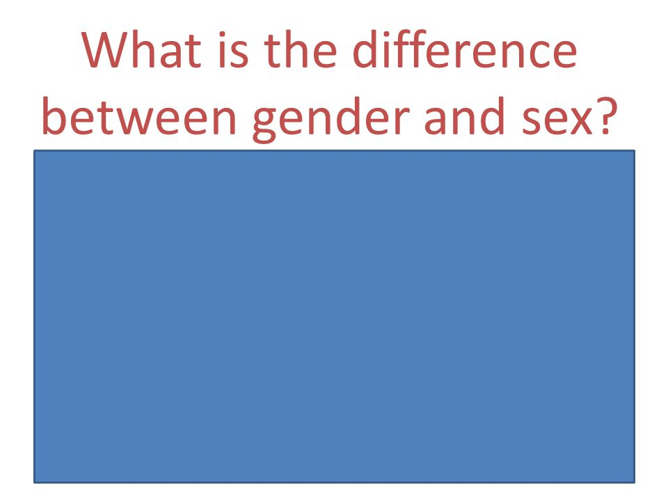 Can mean? The difference between sex and gender