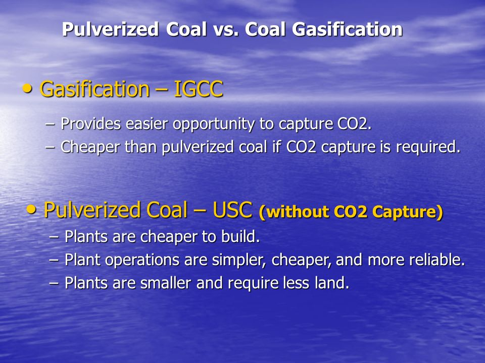 Pulverized Coal vs. Coal Gasification