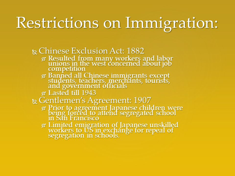 Immigration restriction in america