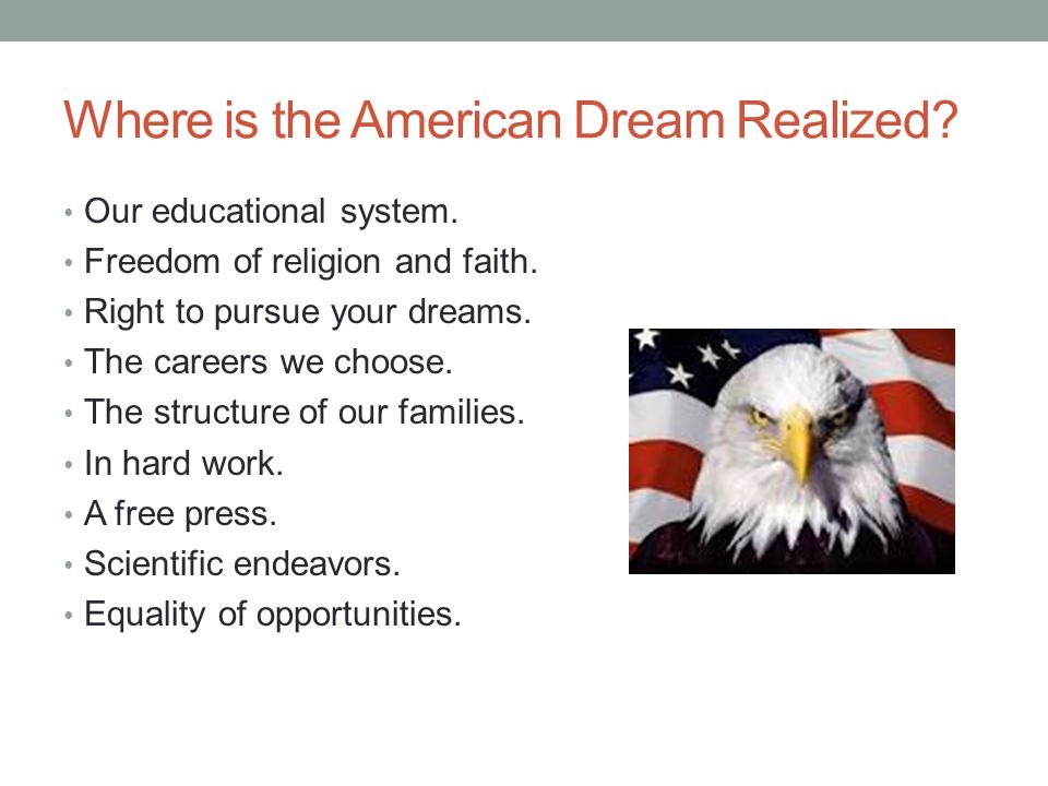 """the structure of the american dream Learning objectives discuss america's class structure and its relation to the concept of the """"american dream""""."""