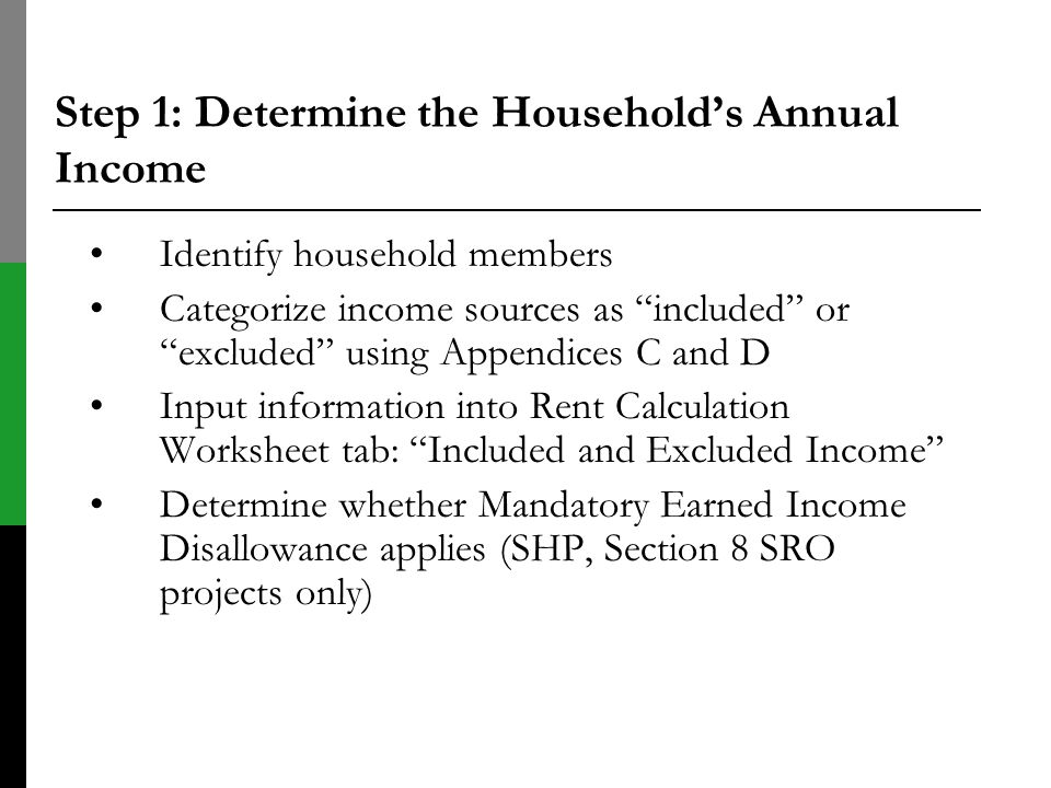Step 1: Determine the Household's Annual Income