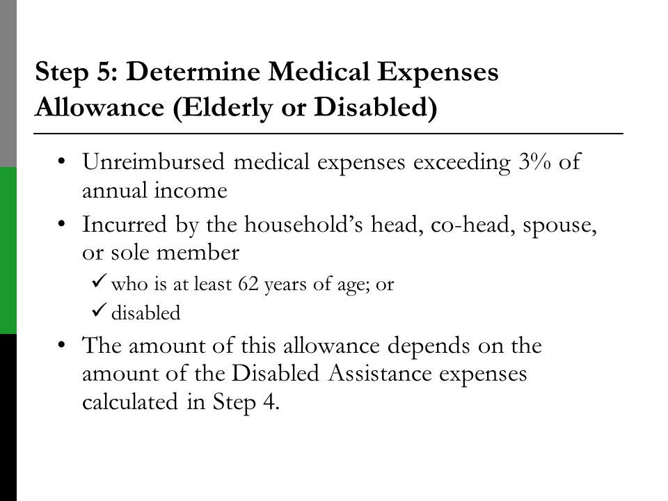 Step 5: Determine Medical Expenses Allowance (Elderly or Disabled)