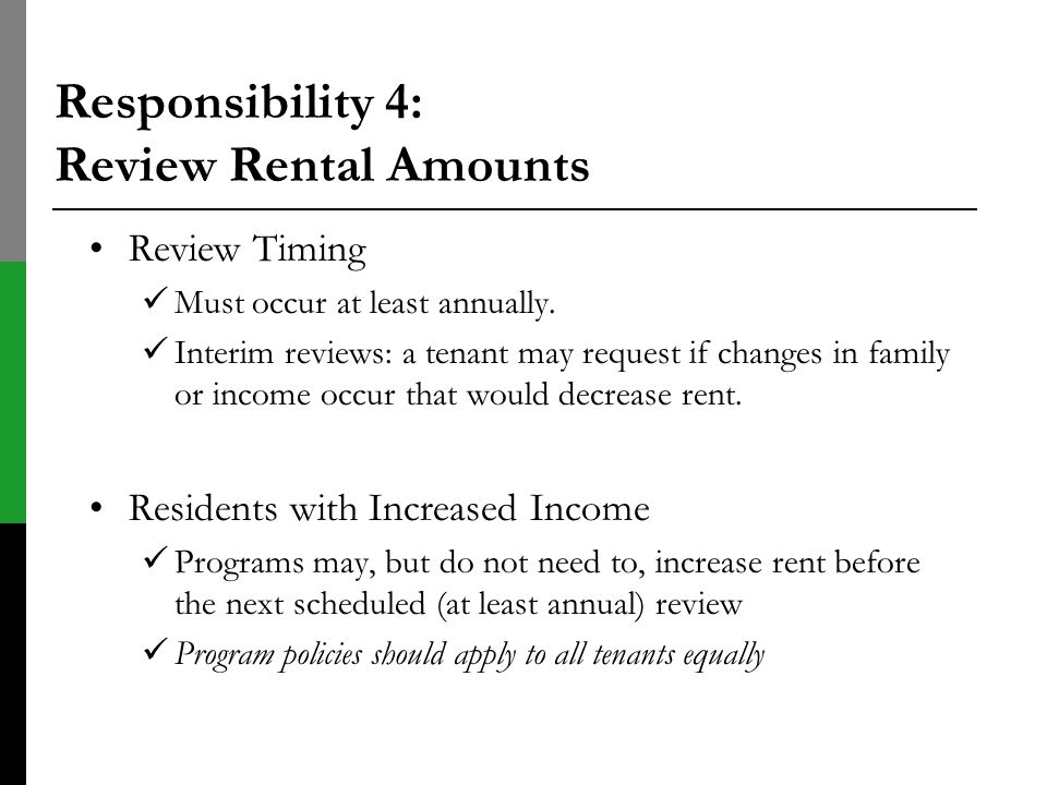 Responsibility 4: Review Rental Amounts