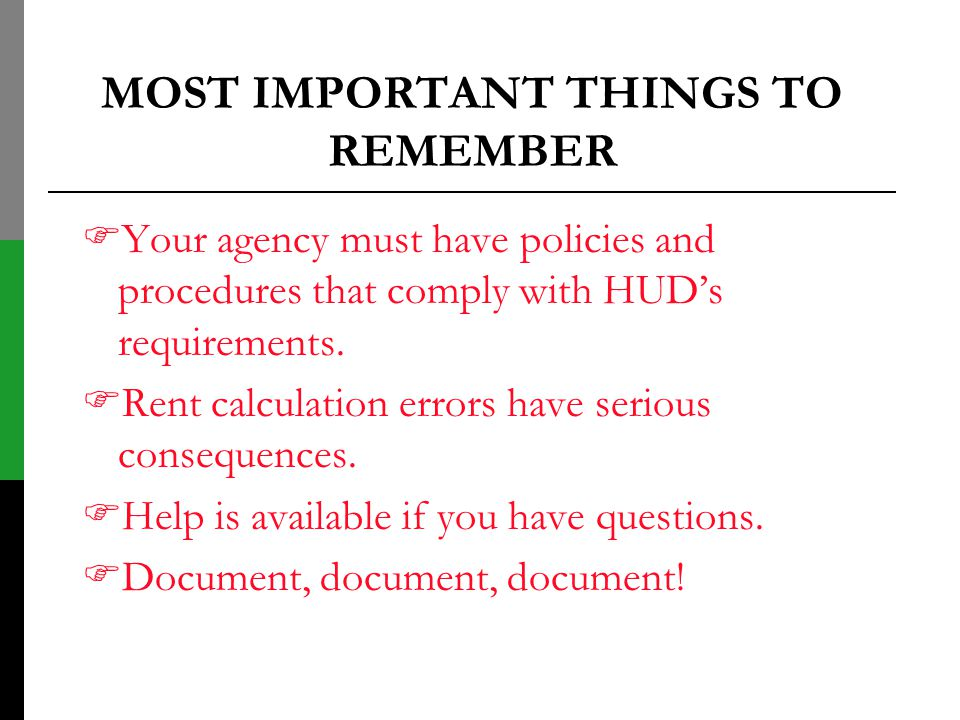 MOST IMPORTANT THINGS TO REMEMBER