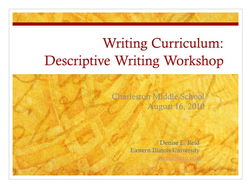 Writing Curriculum Descriptive Writing Workshop Ppt Video Online
