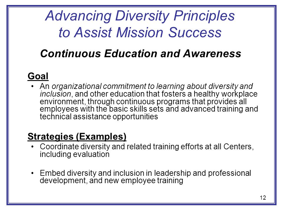 Advancing Diversity Principles to Assist Mission Success