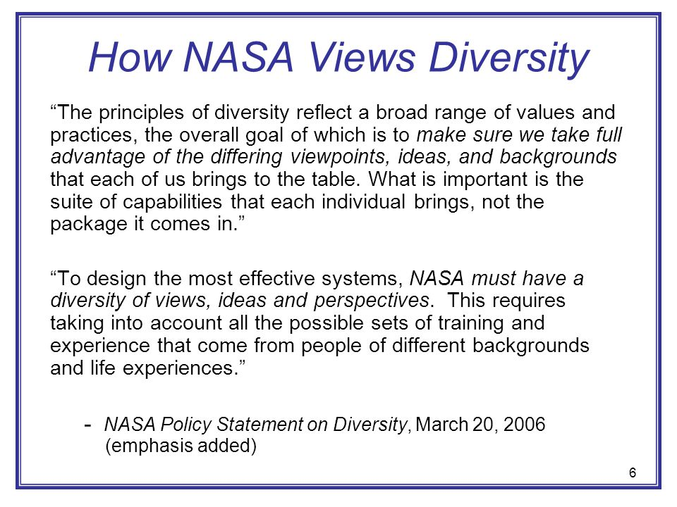 How NASA Views Diversity