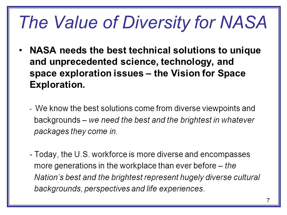 The Value of Diversity for NASA