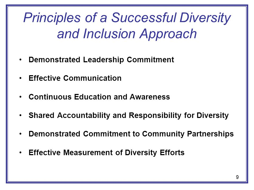 Principles of a Successful Diversity and Inclusion Approach