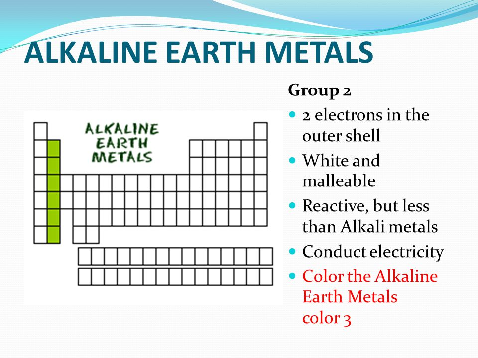 Coloring the periodic table families ppt video online download 6 alkaline urtaz Gallery