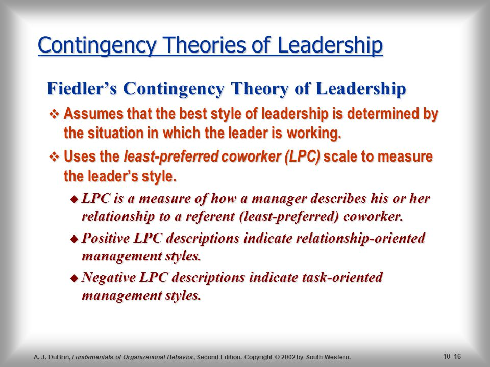 contingency theory of leadership term paper Published by experts share your essayscom is the home of thousands essay on the four major theories of leadership contingency theory of leadership by fe.