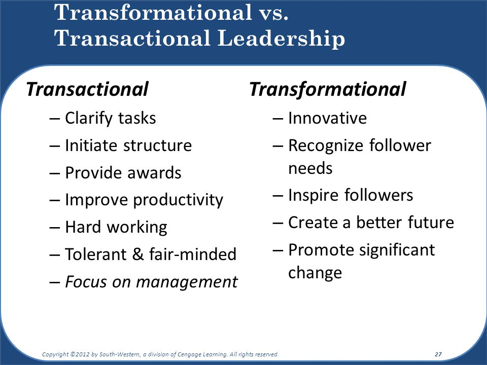 transactional vs transformational leadership Transactional and transformational leadership, advantages and disadvantages how to implement different leadership styles for great results read more.