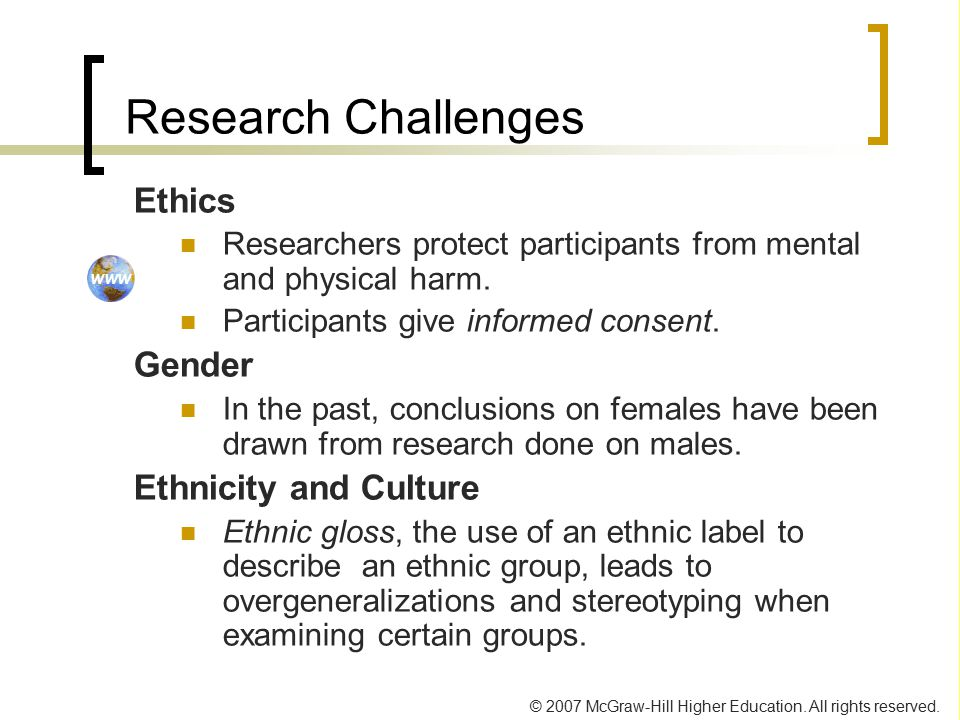 Research Challenges Ethics Gender Ethnicity and Culture