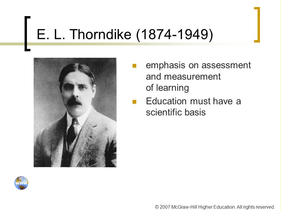 E. L. Thorndike ( ) emphasis on assessment and measurement of learning.