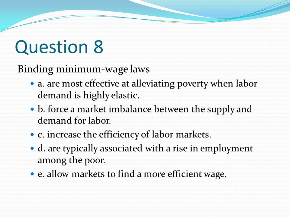 Question 8 Binding minimum-wage laws