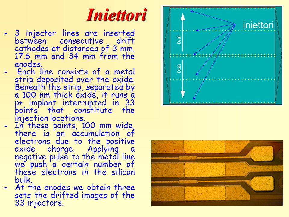 Iniettori iniettori. 3 injector lines are inserted between consecutive drift cathodes at distances of 3 mm, 17.6 mm and 34 mm from the anodes.