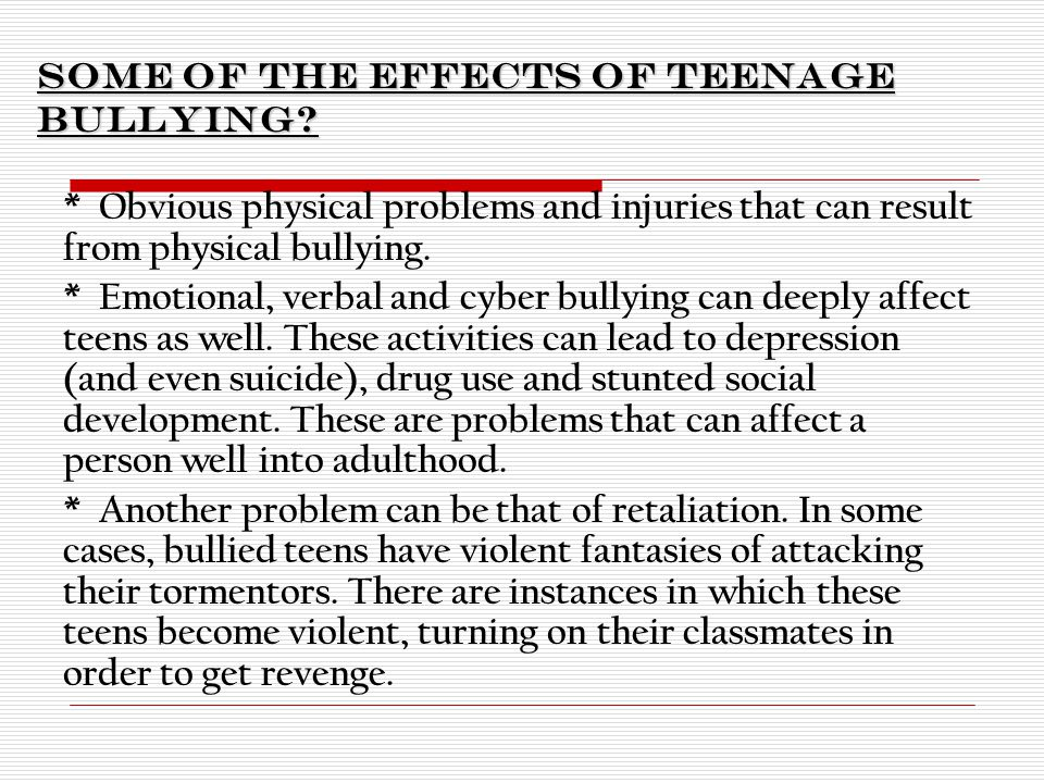 Effects of Bullying on Adolescents