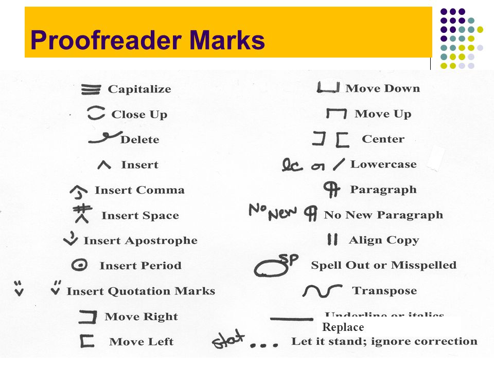 Proofreader Marks Replace