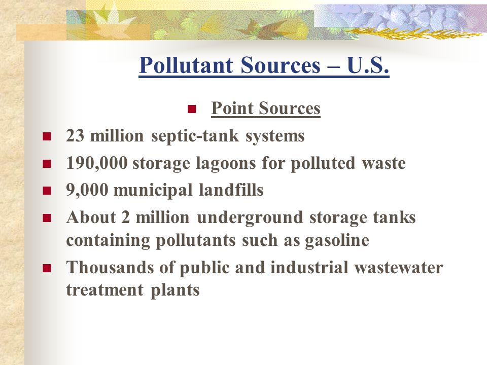 Pollutant Sources – U.S. Point Sources 23 million septic-tank systems