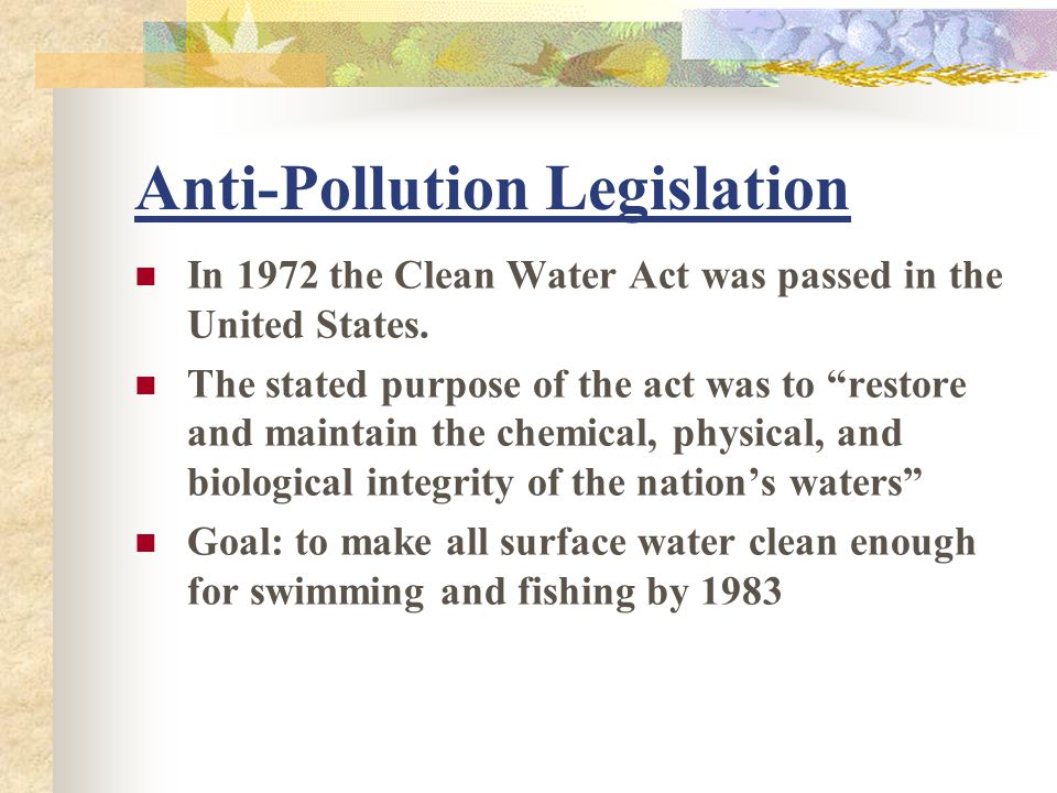 Anti-Pollution Legislation