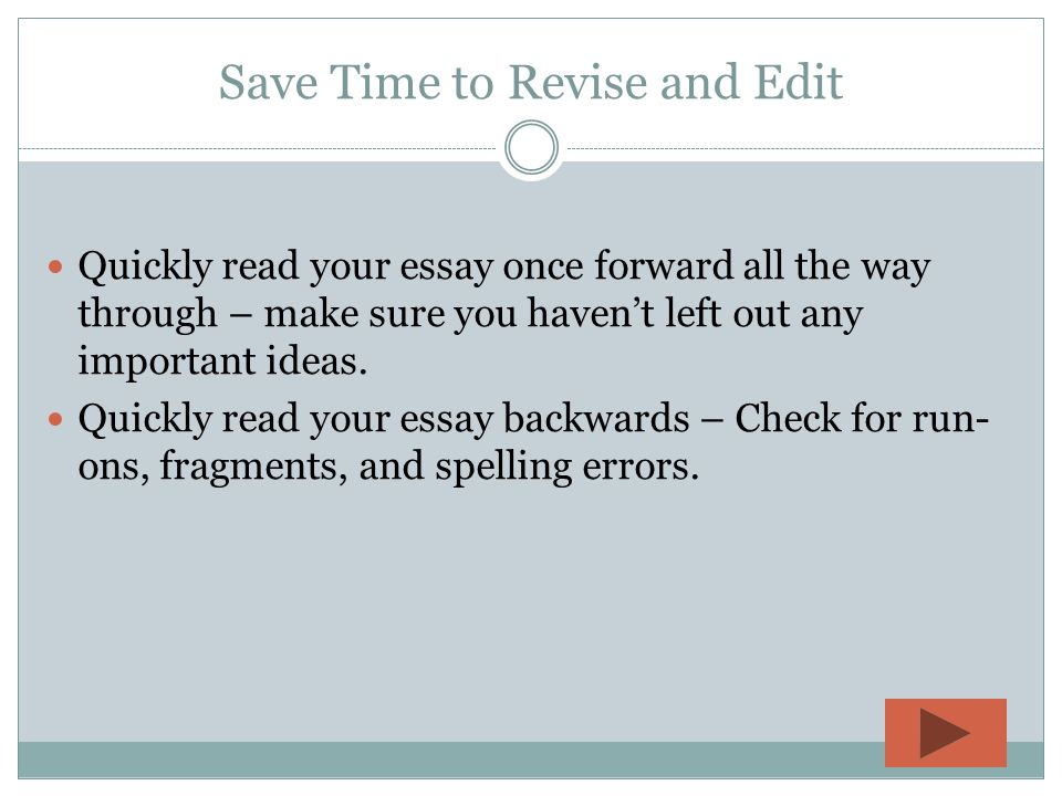 "editing and revising your essay Revising drafts the key is still to give yourself enough time to look at the essay as a whole once you've see chapter 4, ""revising and editing."