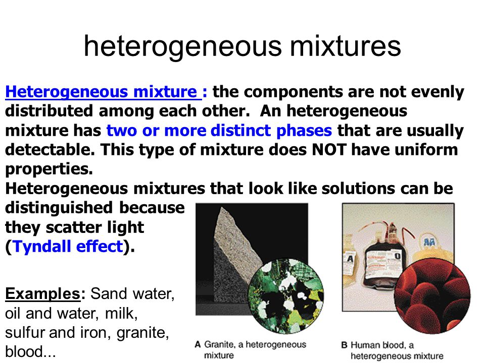 Heterogeneous mixture sand and water