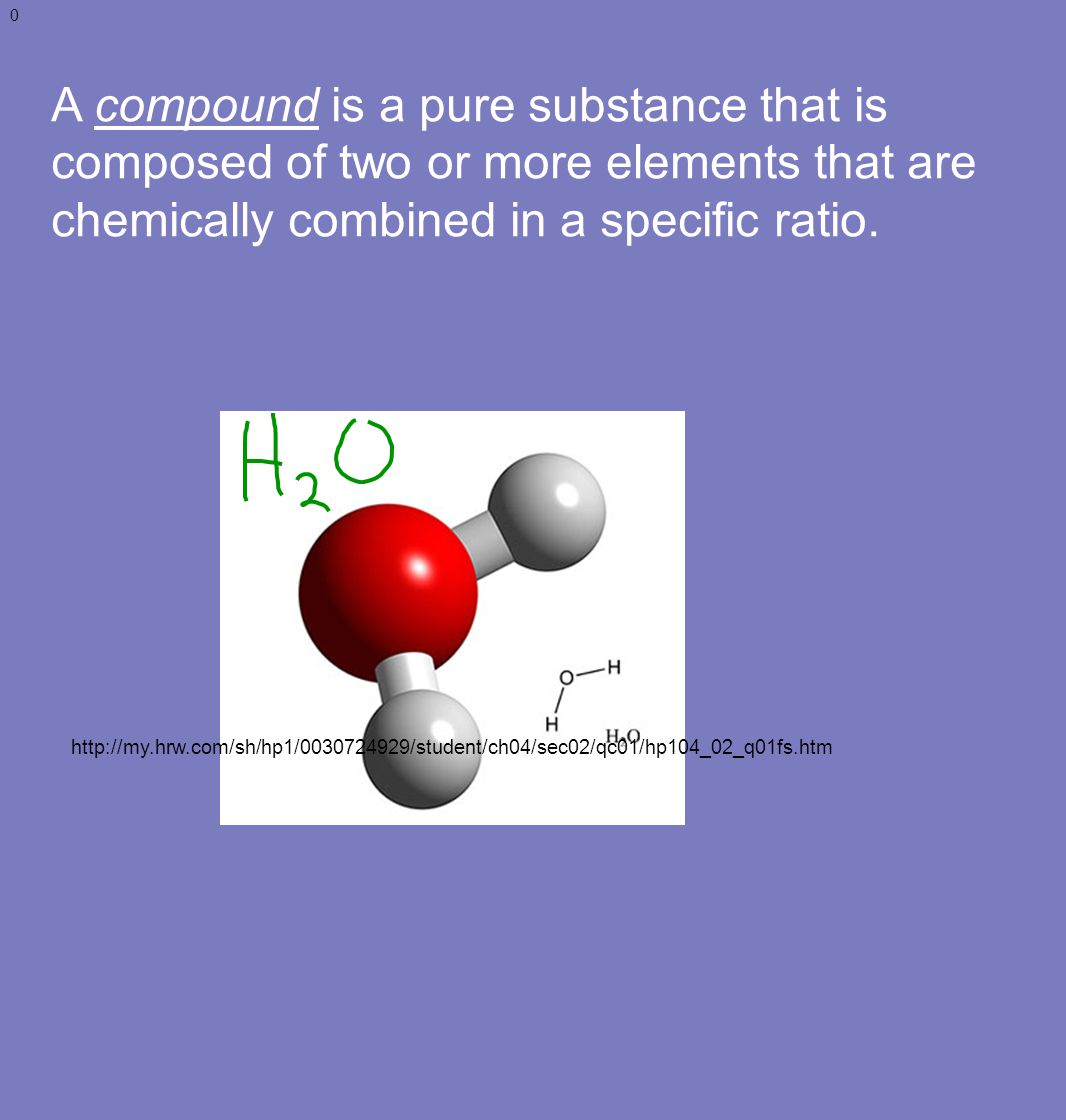 A compound is a pure substance that is composed of two or more elements that are chemically combined in a specific ratio.