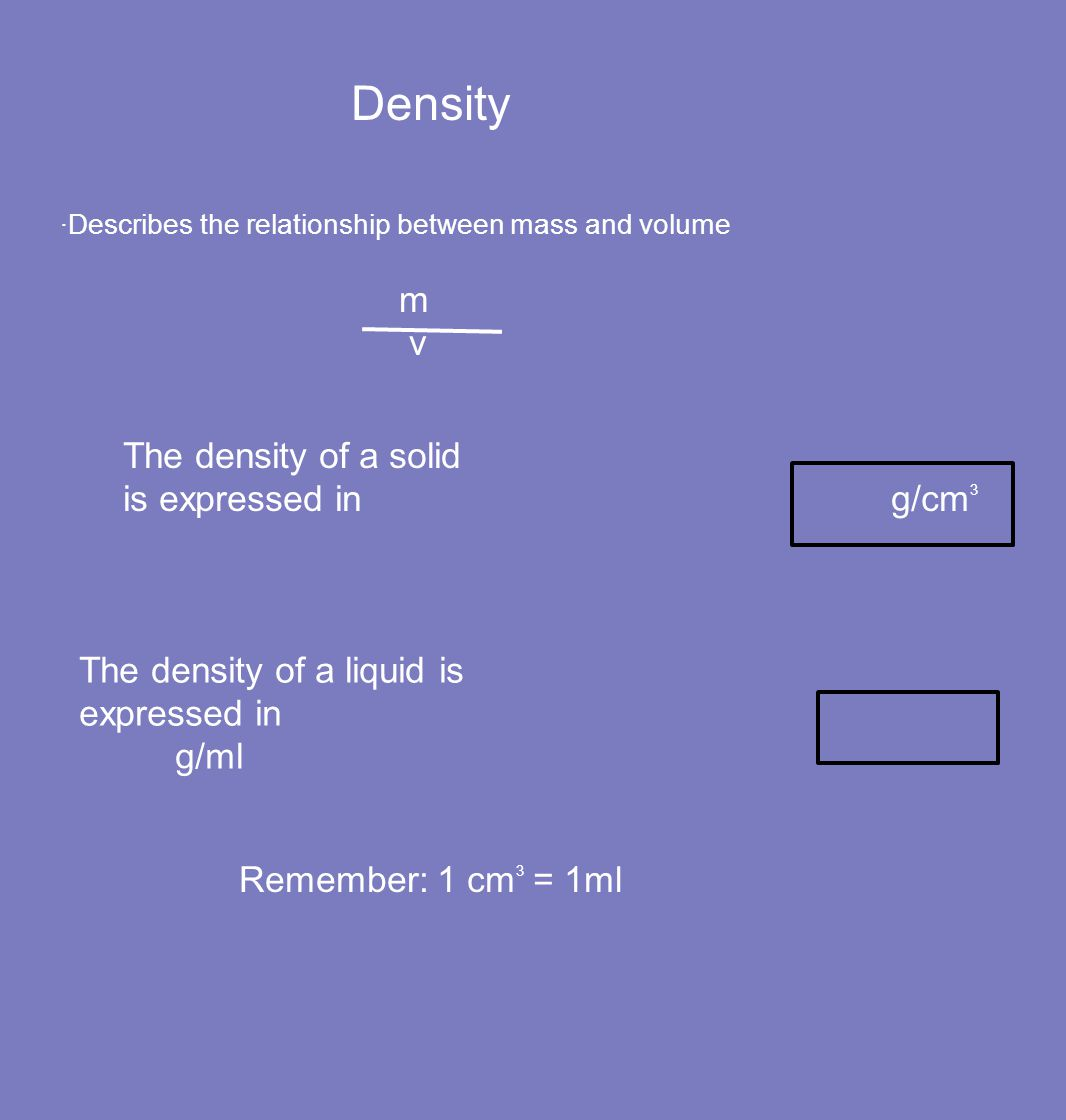 Density m v The density of a solid is expressed in g/cm3