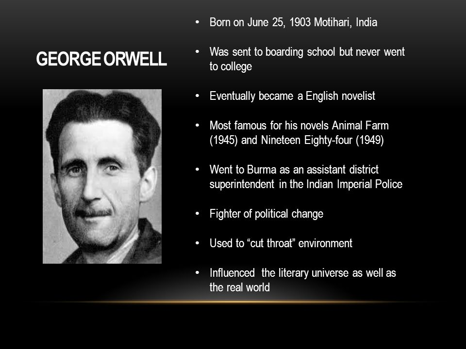on orwells politics vs literature George orwell's widely read essay 'politics and the english language' links the  decline  donald has taught english literature and history from middle school to .