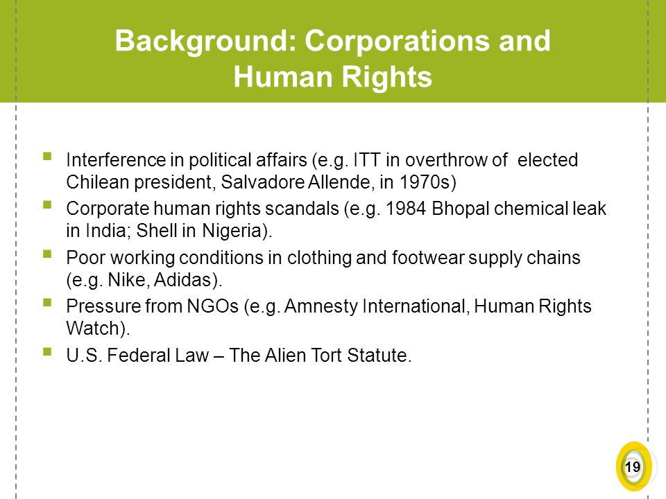 Background: Corporations and Human Rights