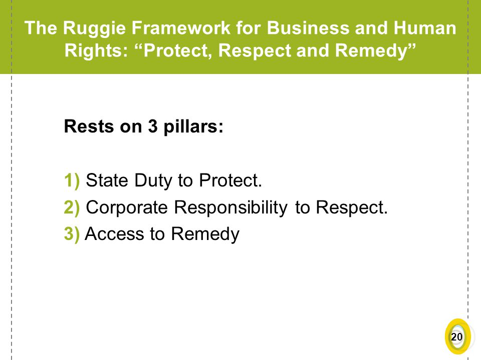 The Ruggie Framework for Business and Human Rights: Protect, Respect and Remedy