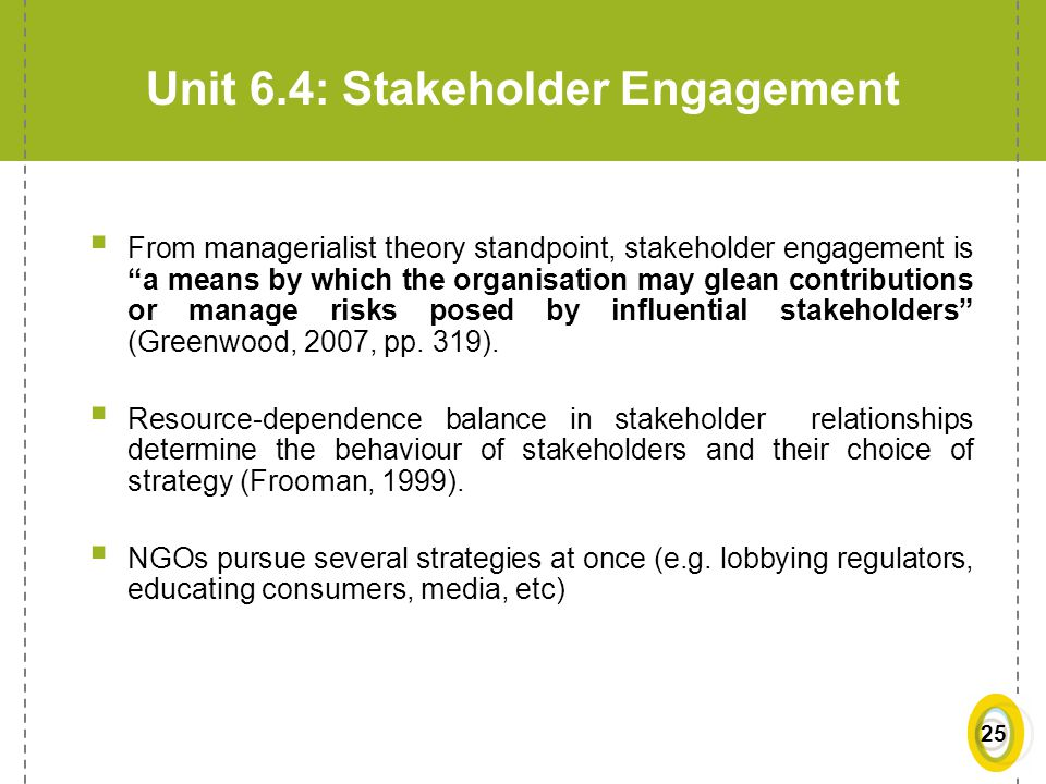 Unit 6.4: Stakeholder Engagement