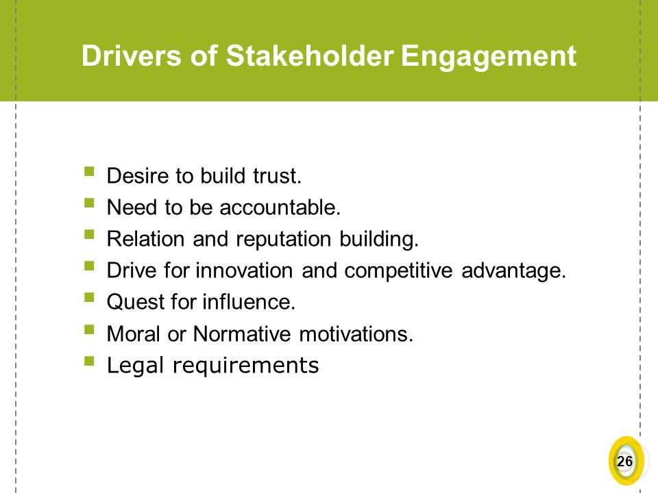 Drivers of Stakeholder Engagement