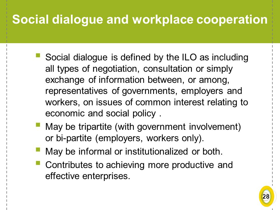 Social dialogue and workplace cooperation