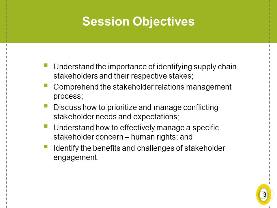 Session Objectives Understand the importance of identifying supply chain stakeholders and their respective stakes;