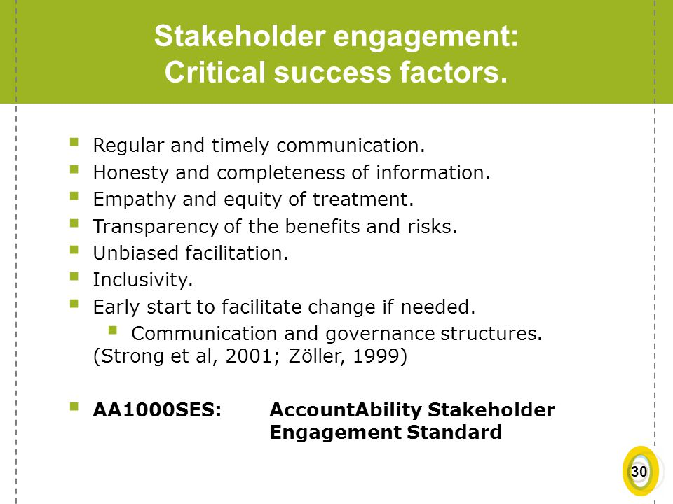 Stakeholder engagement: Critical success factors.
