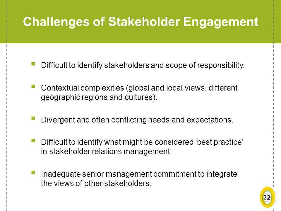 Challenges of Stakeholder Engagement